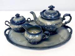 Queen Anne's Lace Pottery Tea Service Iron & Lace Blue Teapot Tray Sugar Cream