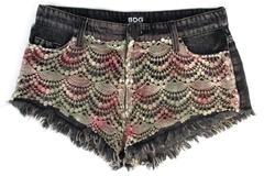 BDG Low Rise Mia Shorts Black Denim Crochet Front Rose Gray Women's Size 25W