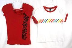 Lot of 2 Junior's Size S Top Shirt Aeropostale Red Rue 21 White Short Sleeve