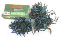 Lot of 3 Strings Christmas Tree Mini Lights 100 50 Bulb Clear Blue Multi Tested