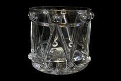 TeleFlora Fine Bohemian 24% Lead Crystal Musical Drum Shape Candy Dish Bowl
