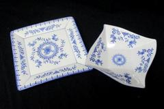 Lot of 2 Square Plate Bowl Royal China Blue White Elegant Home Decor Set