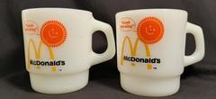 2 Anchor Hocking Fire King McDonald Good Morning Coffee Tea Cup Mug Oven Proof