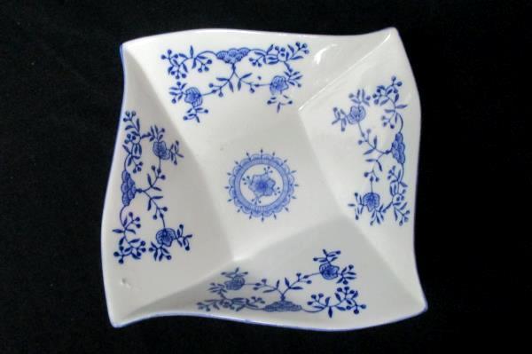 Lot of 2 Square Plate Bowl Royal China Blue White Elegant Home Decor Set