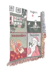 Welcome Home Throw Blanket Months Of The Year Fringe Edges White Green Red Blue