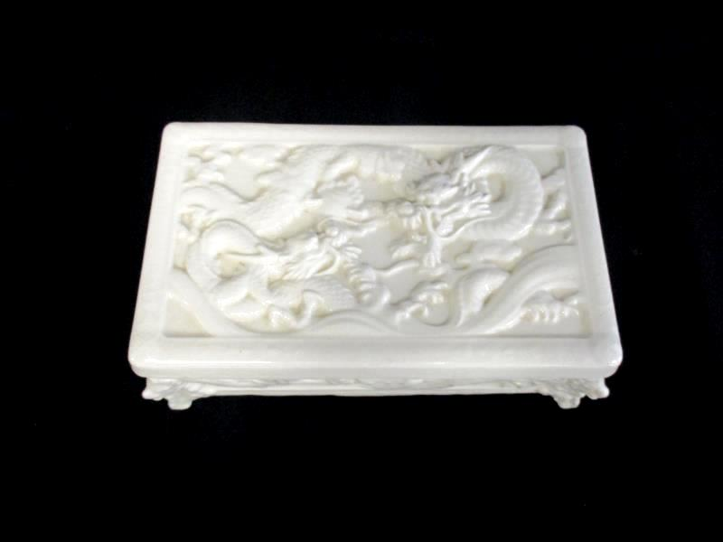 Vintage Porcelain Jewelry Box Asian Dragon Off White Footed 6.25 x 3.75in