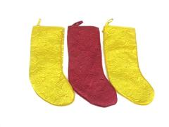 Lot of 3 Gold and Burgundy Quilted Christmas Stockings 19 Inch Holiday Time NEW
