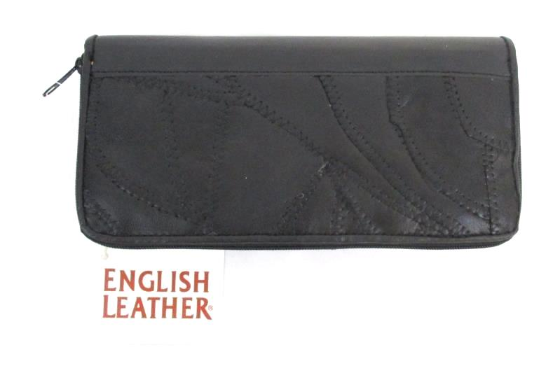 English Leather Women's Wallet Black Patchwork Multi Pocket Card Slots With Tag