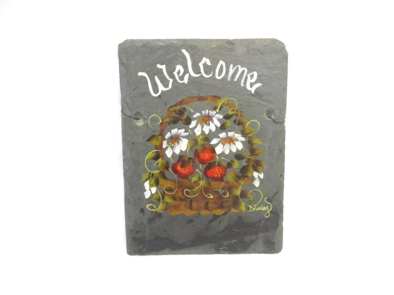 Hand Painted Slate Tile Welcome Basket of Flowers Signed D Ewing 12 x 9in