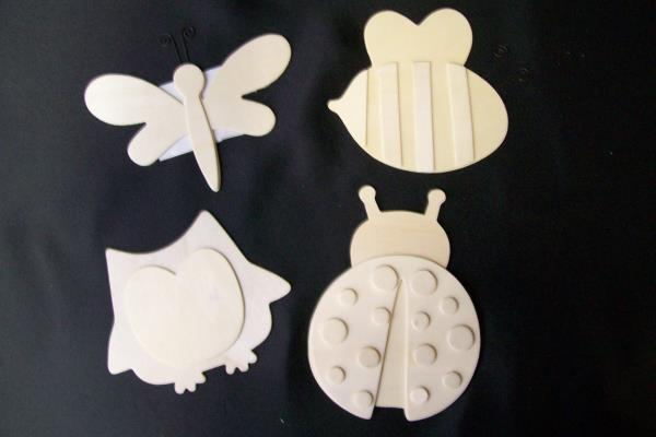 Lot of 13 Wooden Block Shapes - Bugs & Stars With Butterfly Coat Hanger