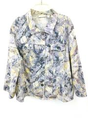 CHICOS Denim Jacket Printed Watercolor Pattern Linen Blend 3/4 Sleeve Sz 3 XL 16
