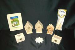 Lot of 8 Wooden Block Shapes - Flower, Bird House & Little Box