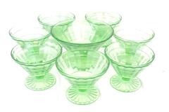 Lot of 8 Anchor Hocking Green Depression Glass Dessert Dishes and Serving Dish
