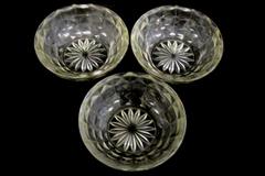 Lot of 3 Vintage Glass Clear Dessert Custard Bowls Diamond Point Starburst