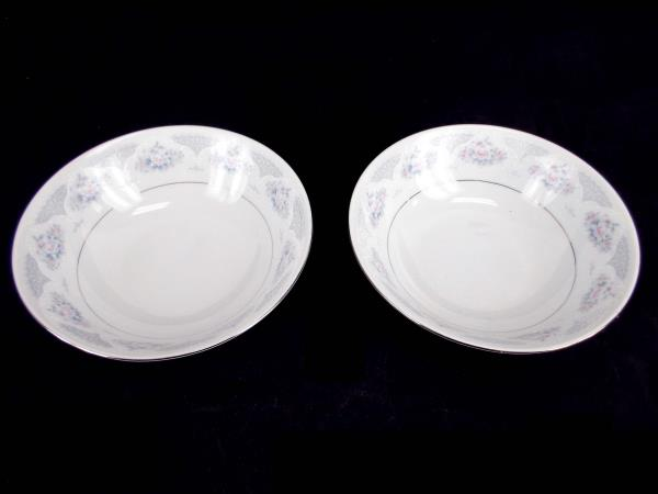 China Coupe Soup Bowls Pair: Pink Blue White Flowers Platinum ~Sapphire Silverie