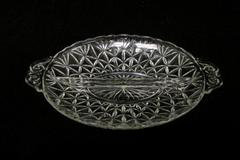Vintage Glass Clear Divided Relish Dish With Handles Floral Fan Design