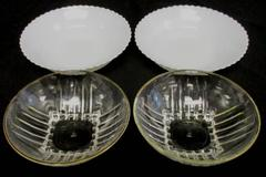 Lot of 4 Vintage Glass Small Bowls Federal Gold Rim White Scallop USA Made