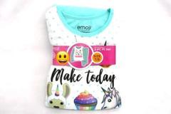 Girls's Emoji Flannel Pajama Set 7/8 Unicorns Make Today Awesome Green