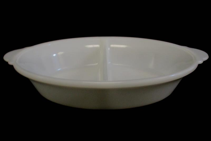 Vintage MCM Maid Of Honor White Glass Ovenware Divided Dish Serving Bowl
