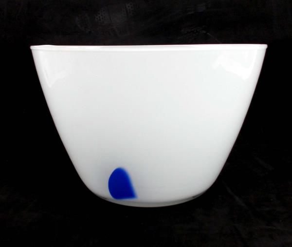 "Art Glass Bowl Serving Fruit Decor Clear White Blue Retro Art Deco 9"" Diameter"