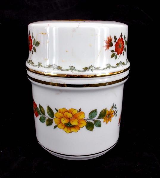 Tea Coffee Jar with Lid Autumn Floral Pattern Gold Gilt Rim ~ Kuba Porzellan