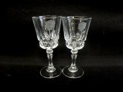 Lot Of 2 FOSTORIA Cordial Glasses Radiance Pattern With Etched Roses