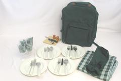 Wine Picnic Backpack For 4 Cups Bottle Opener Cutlery Plates Napkins Table Cloth