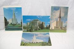"Lot Of 4 Lithographs Of Mormon Temples LDS 17"" x 11"" Swiss,London, And Other"