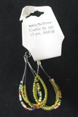 Hand Made Glass Bead Dangle Teardrop Earrings NEW Jewelry 3 Strand Pierced Ears