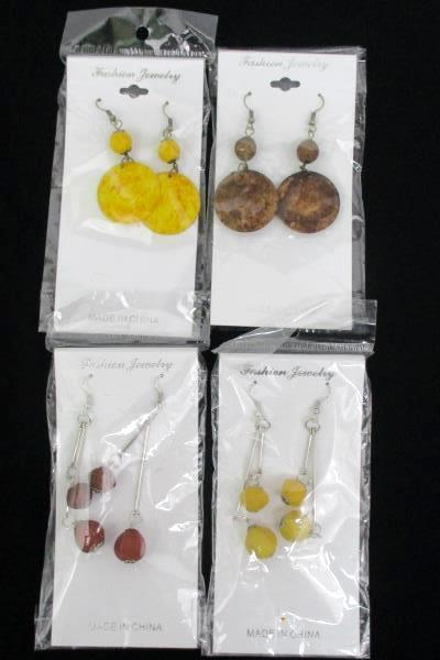 Lot of 4 Pairs of Earrings Dangle Pierced Fashion Earrings Threader