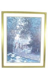 Framed Art Print Claude Monet The Parc Monceau Paris Blue White 32 x 24in