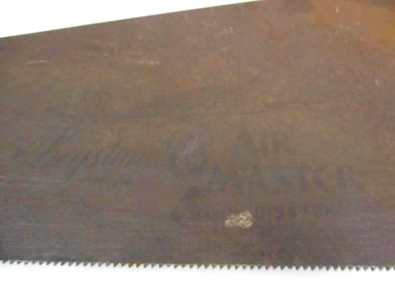 Lot of 2 Vintage Handsaws Warranted Superior Atkins Wheat Wood Handles