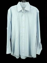 CHARLES TYRWHITT Slim Fit Dress Shirt Blue Check 100% Cotton Men's 16.5 / 33