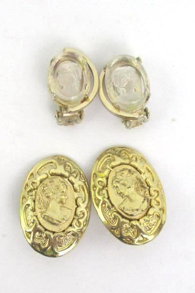 Victorian Cameo Earrings Clip On 2 Pairs Glass Gold Tone Brass Costume Jewelry