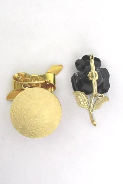 2 Gold Tone Flower Brooch Pin & Pendant White Black Rose Bow Ribbon Vintage