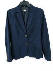 J Crew Schoolboy Blazer Navy Blue Cotton Blend Tortoise Shell Buttons Women Sz 6