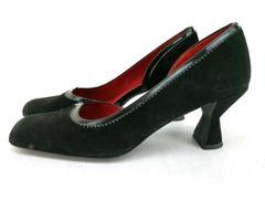 Ann Taylor D'Orsay Heels Black Suede Leather Retro 30s 40s Women's Sz 7
