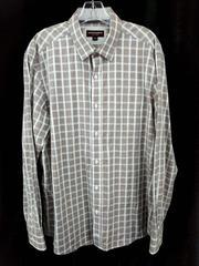 Johnston & Murphy Button Down Shirt Brown Plaid 100% Cotton Mens Large