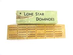 Lot of 2 Vintage Games Lone Star Dominoes Horn Wood Cribbage Board With Pegs