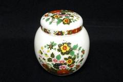 Sadler Porcelain Lidded Ginger Jar White Floral Design England