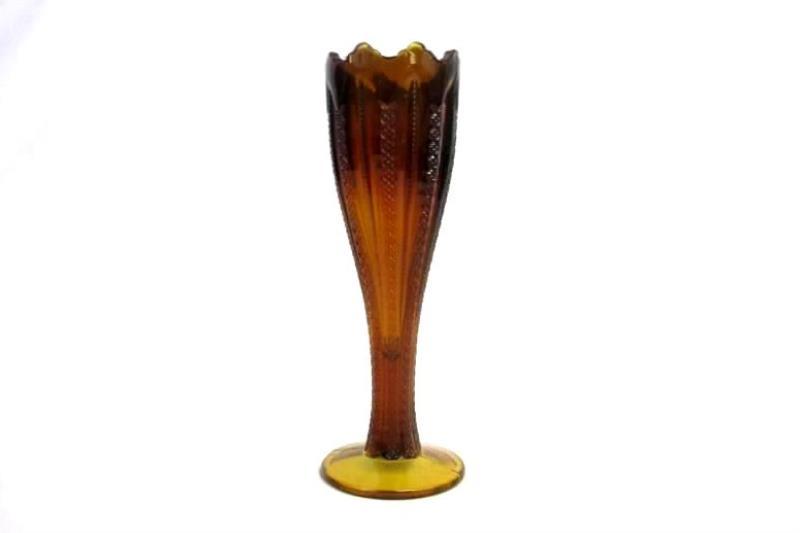 Vintage Brown Duncan Miller Mardi Gras Trumpet Vase 10.25 Inch
