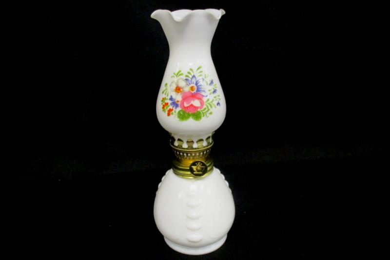 Vintage Oil Lamp Small White Glass Brass Hardware Painted Floral Design