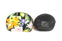 Lot of 2 Make Up Bag Purse Organizers Celebrity Floral Black Faux Leather