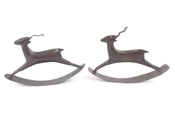 Pair of Metal Rocking Horse Folk Art Design Display Piece Decorative Reindeer