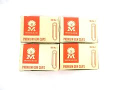 Lot of 4 Boxes Monarch Premium Gem Clips Vintage Paper Clips 100/No 1 USA