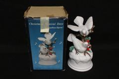 Vintage 1981 Jonathon Byron Ceramic Christmas Dove Music Box Silent Night