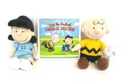 Lot of 3 Kohl's Cares Peanuts Charlie Brown Lucy Plush w/ Kick The Football Book