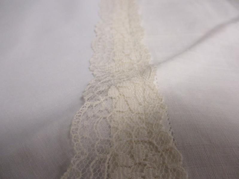 Lot 2 Hand Decorated Pillowcases Floral Embroidery Lace Standard Size