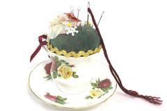Queen's Vintage Porcelain Tea Cup and Saucer Set Sewing Pin Cushion With Pins