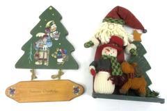 Lot of 2 Wooden Christmas Decoration Santa Moose Snowman Reindeer